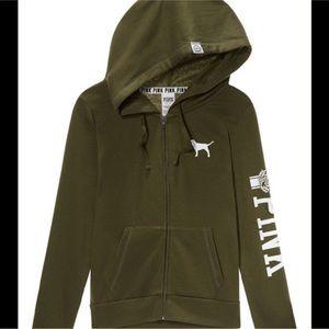 Victoria's Secret PINK green zip up hoodie
